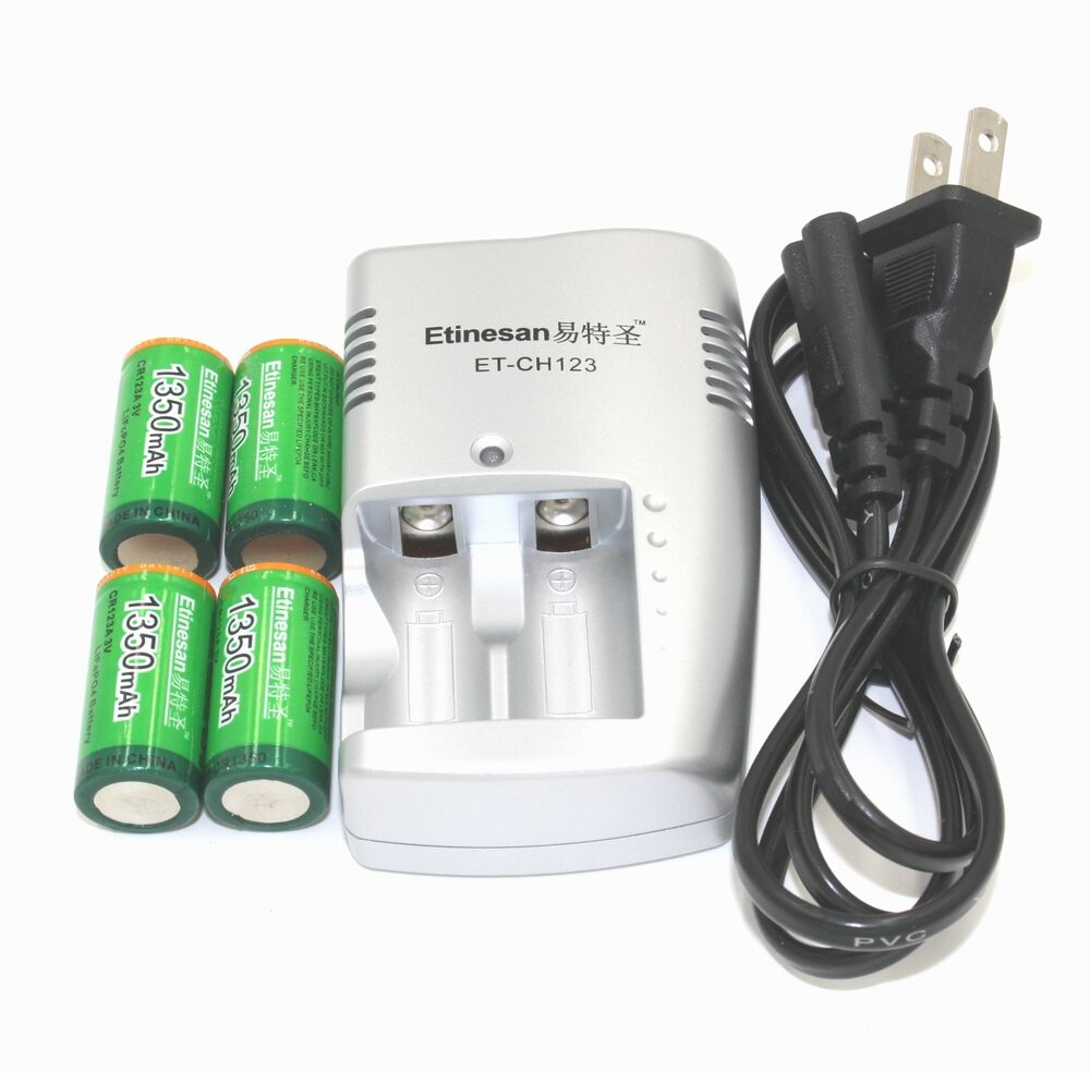 4pcs etinesan 1350mah 3v cr123a rechargeable lifepo4 lithium battery charger ebay. Black Bedroom Furniture Sets. Home Design Ideas