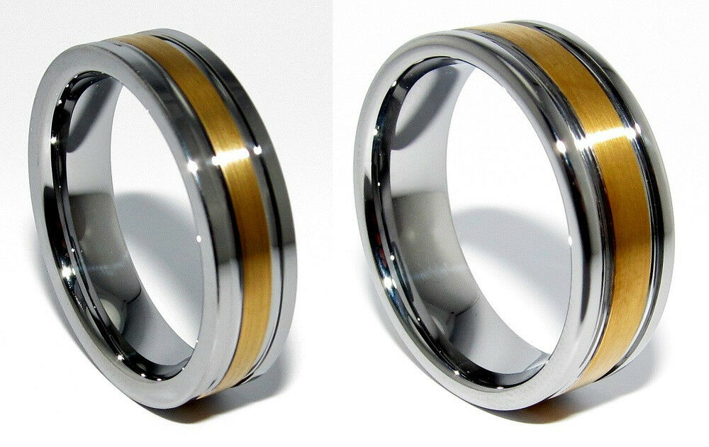 mens tungsten wedding 18k gold plated band ring 6mm 8mm size 8 to 14 5