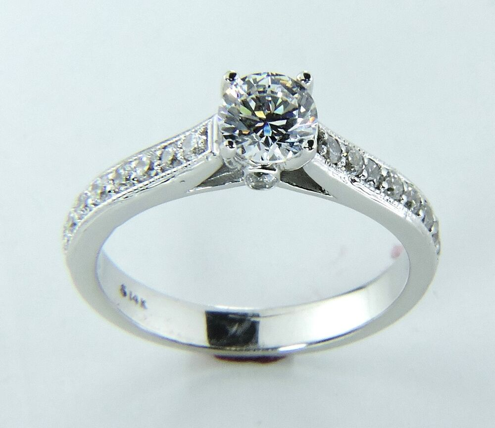 White Gold Bands: Diamond Engagement Ring Solid 14K White Gold Band 1 Carat