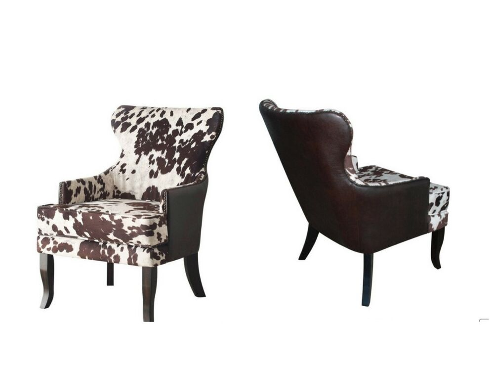 cowhide faux leather upholstered accent club arm chair animal dining