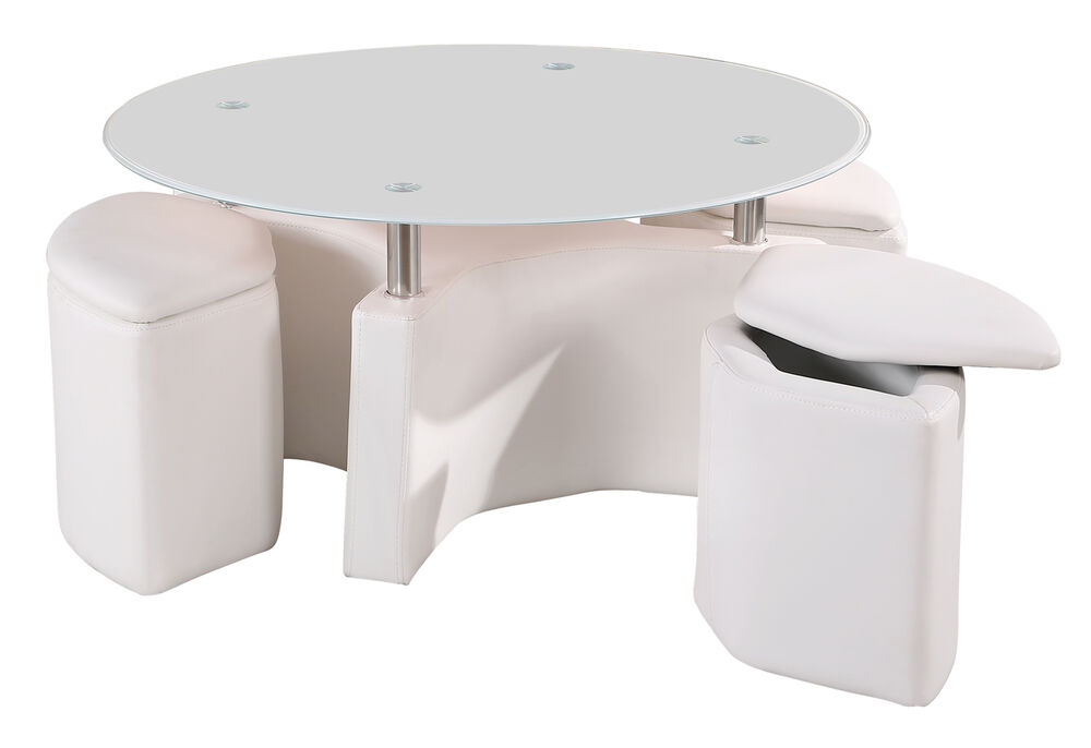 Milano Coffee Table With 4 Ottoman Storage Stools In White