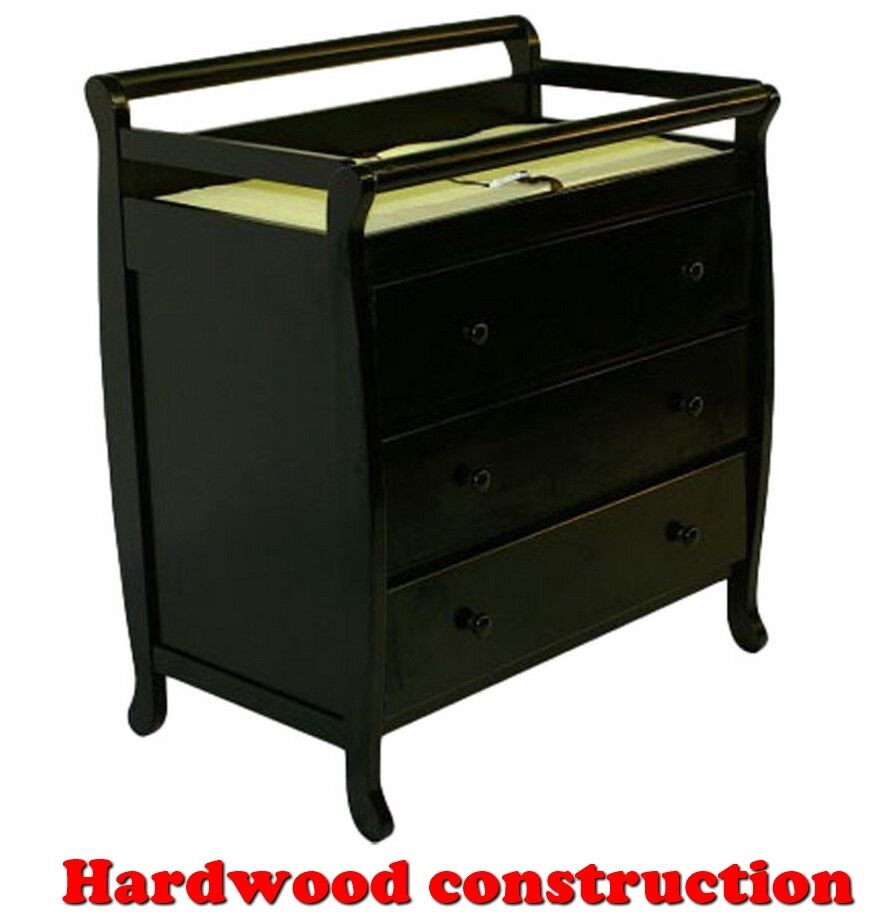 Changing table 3 drawer storage black hardwood baby Nursery chest of drawers with changer