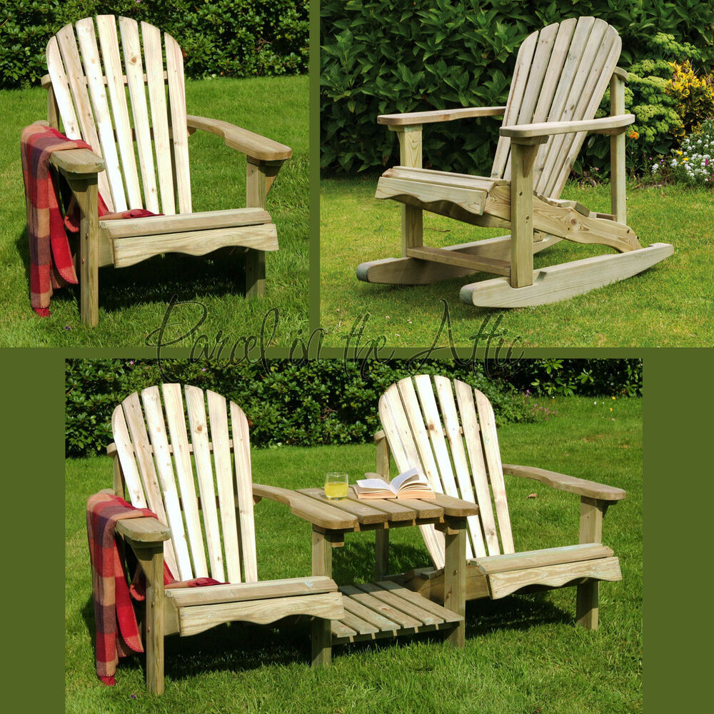 Solid Wood Outdoor Adirondack Chair Garden Patio Wooden Rocker Rocking Furniture Ebay