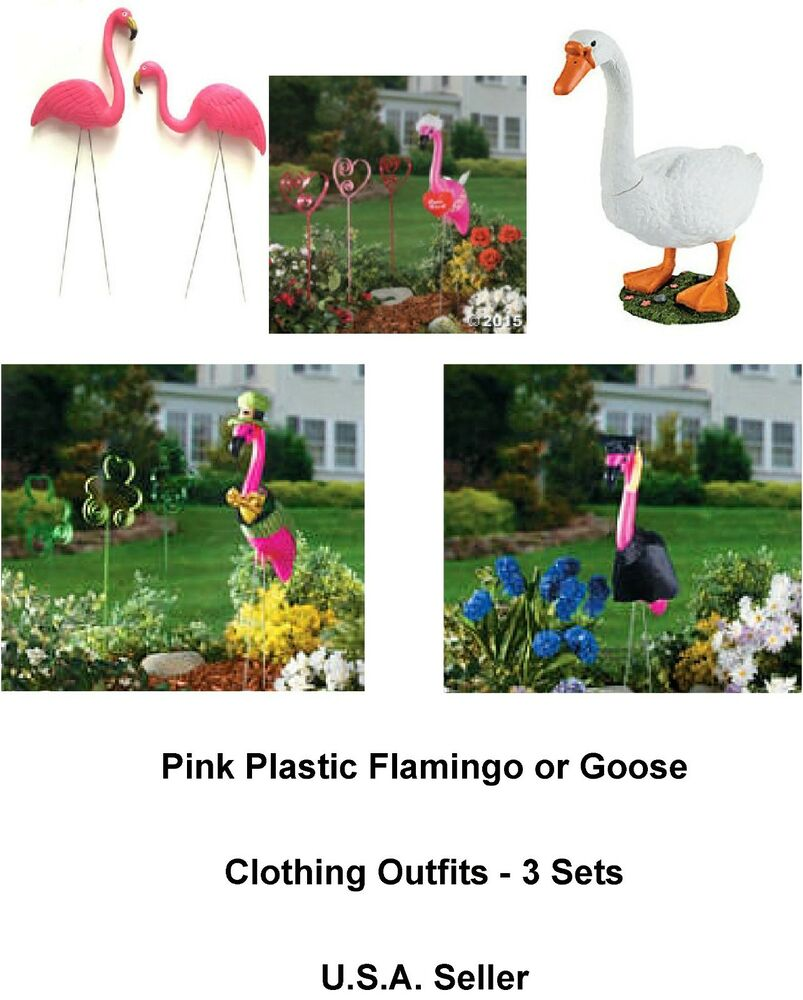 Pink flamingos and goose seasonal outfits 3 sets for for Yard decorations for summer