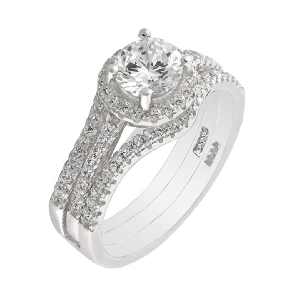 3pc sterling silver halo cz wedding engagement