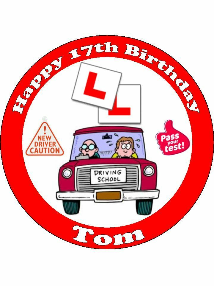 Learning Driving Licence Application लर न ग ड र ईव ग: Personalised Learner Driver 17th Birthday L Plates Edible