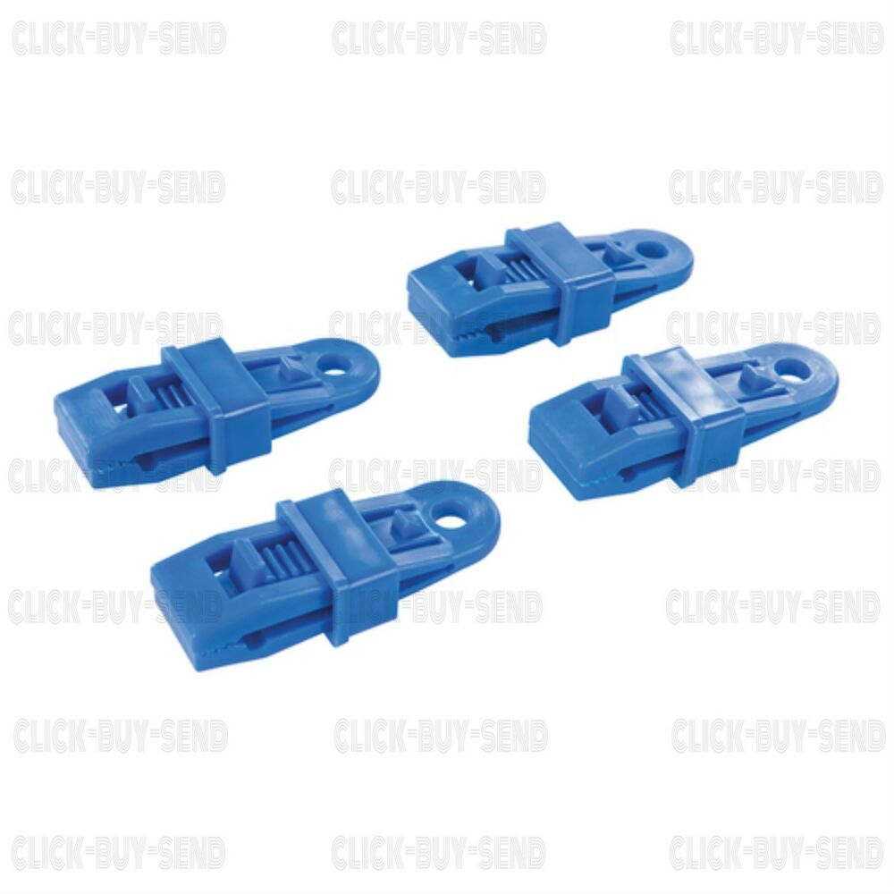 Silverline 4 Reusable Tarpaulin Clips Clip On Tarpaulin