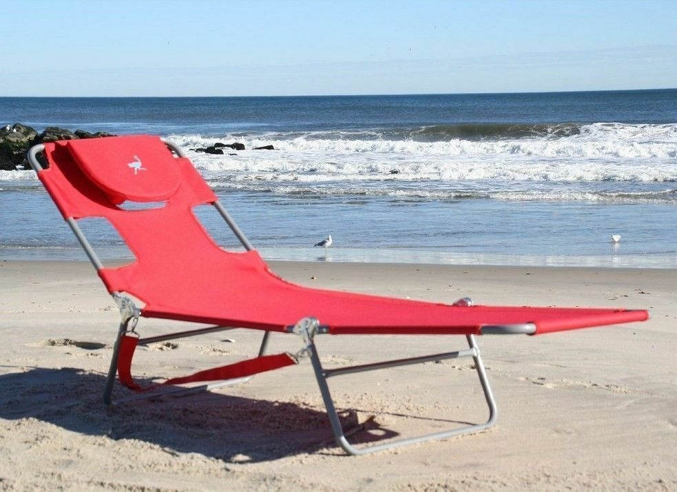 Red beach chaise lounge portable folding light weight for Beach chaise lounge folding