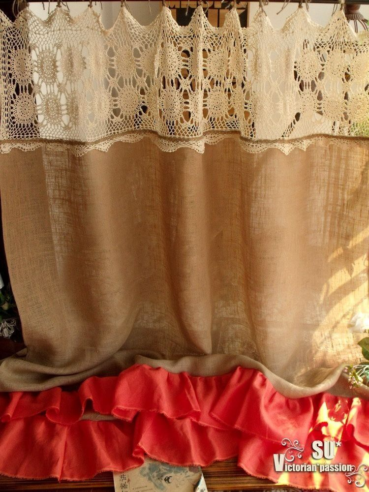 ... SHABBY Rustic Chic Burlap SHOWER Curtain Orange Coral Ruffles | eBay