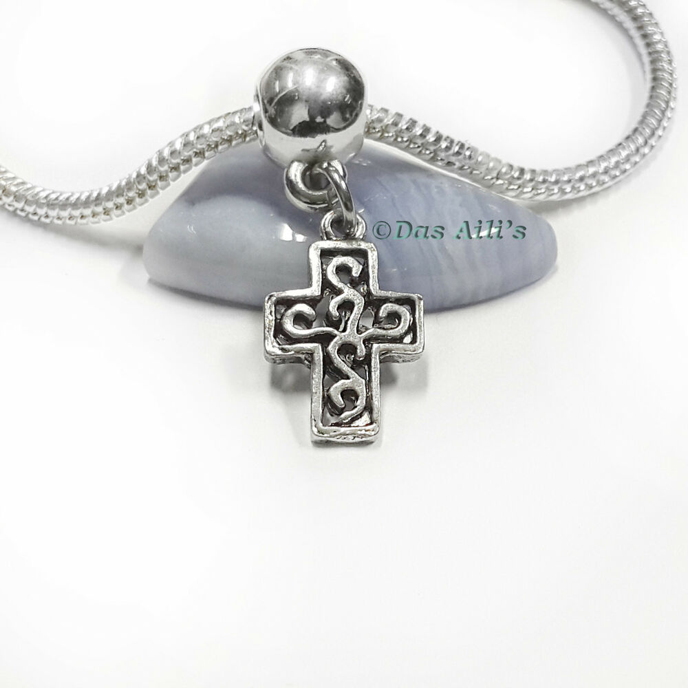Cross Charm Bracelet: Silver Tone Filigree Jesus Cross Catholic Christian Dangle