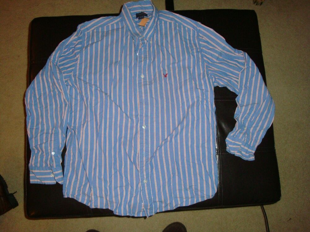 American eagle outfitters button down cotton striped shirt for Red and white striped button down shirt