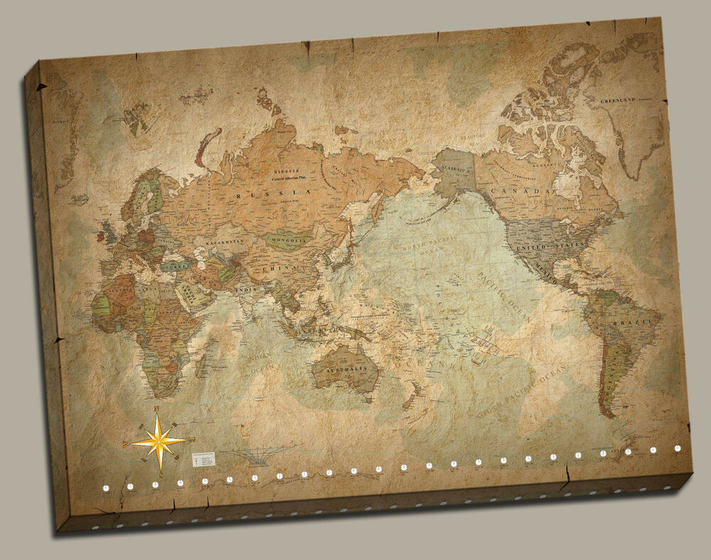 Wall Art Canvas Picture Print Antique Old Vintage World