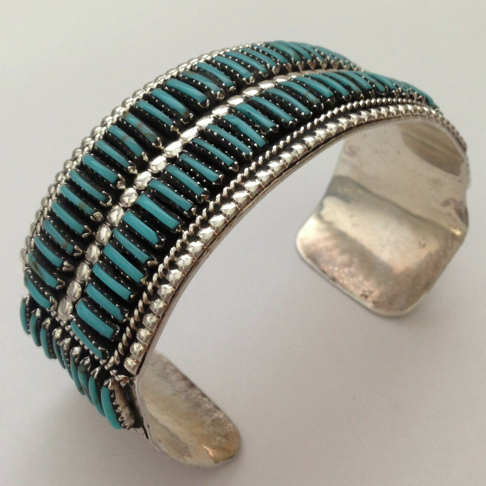 Sterling Silver Navajo Handmade 2 Row Needlepoint
