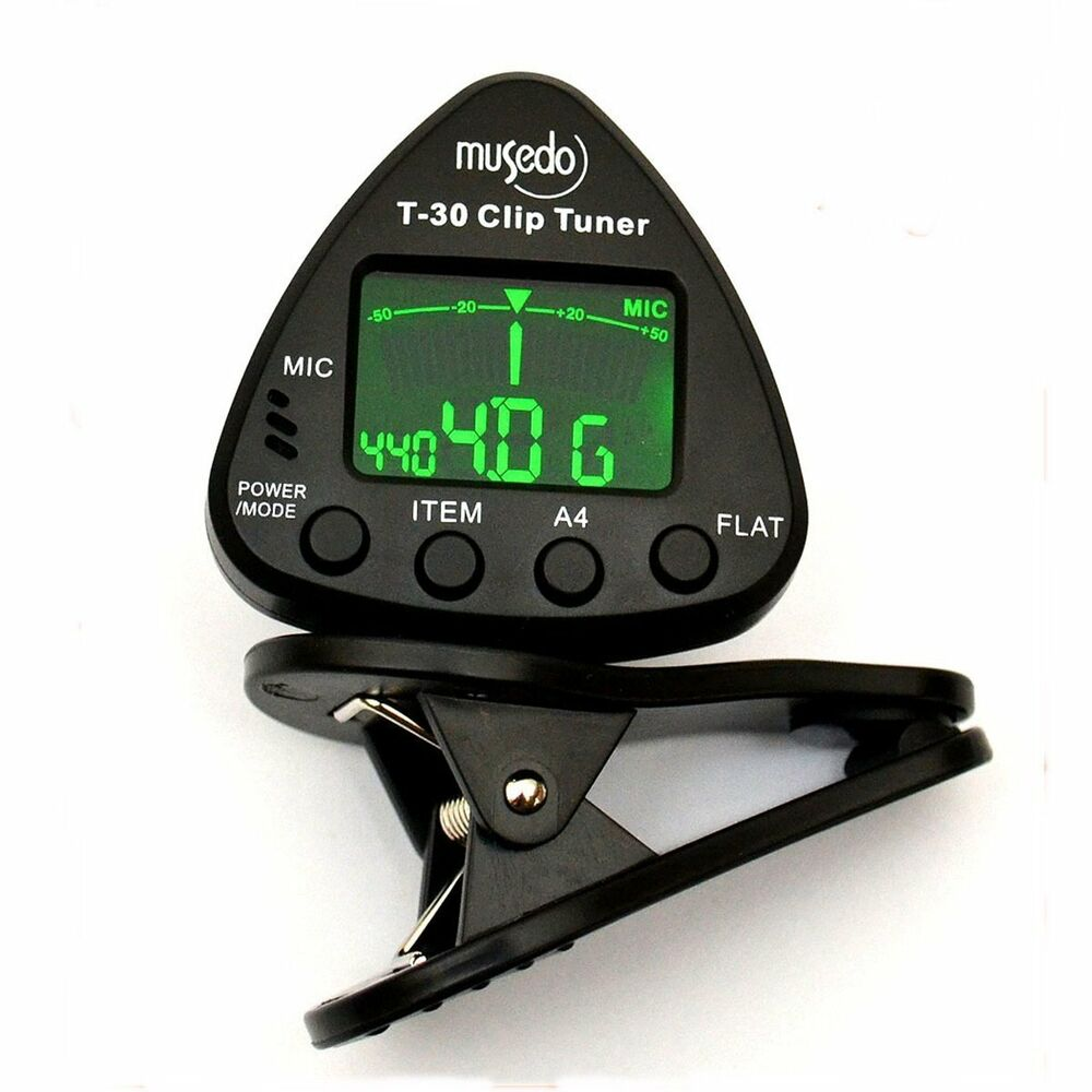 clip on tuner for chromatic guitar bass 6 string and violin t 30 with tuning ebay. Black Bedroom Furniture Sets. Home Design Ideas