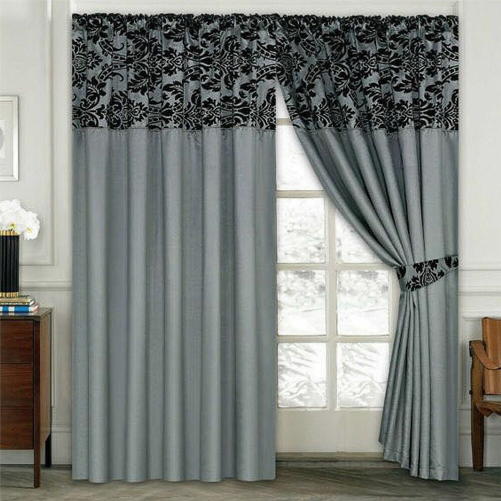 Damask half flock pair of bedroom curtain living room curtain silver black ebay - Curtains in bedroom ...