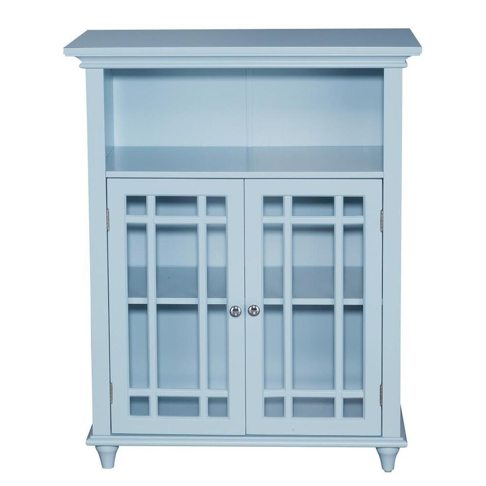 Hampton blue modern floor cabinet cupboard w 2 doors for for 1 door cupboard