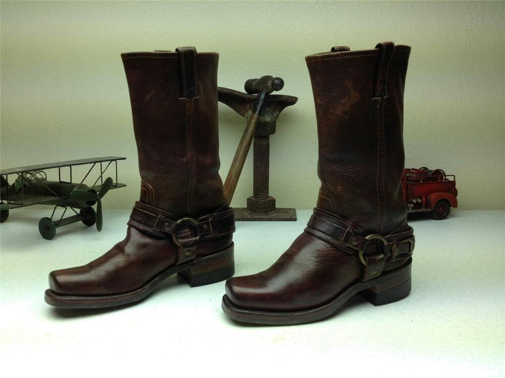 Brown leather frye harness motorcycle made in usa western biker boots