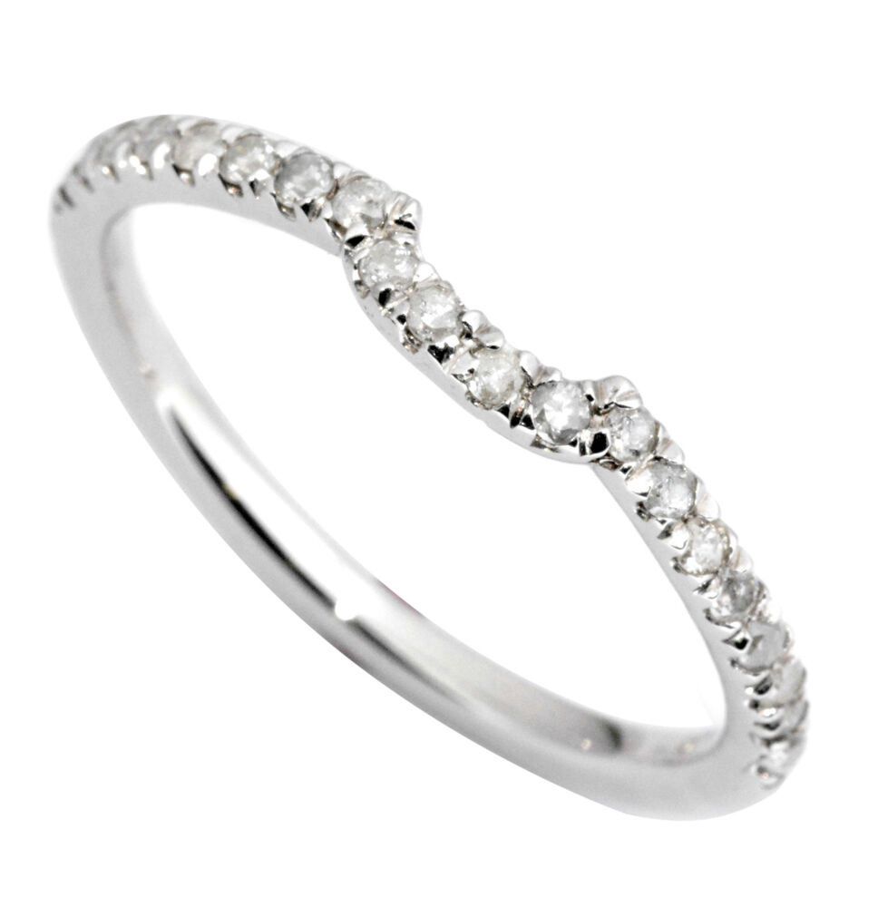Curved Wedding Bands: Diamond Wedding Ring Band 0.20 Carat CURVED 14K White Gold