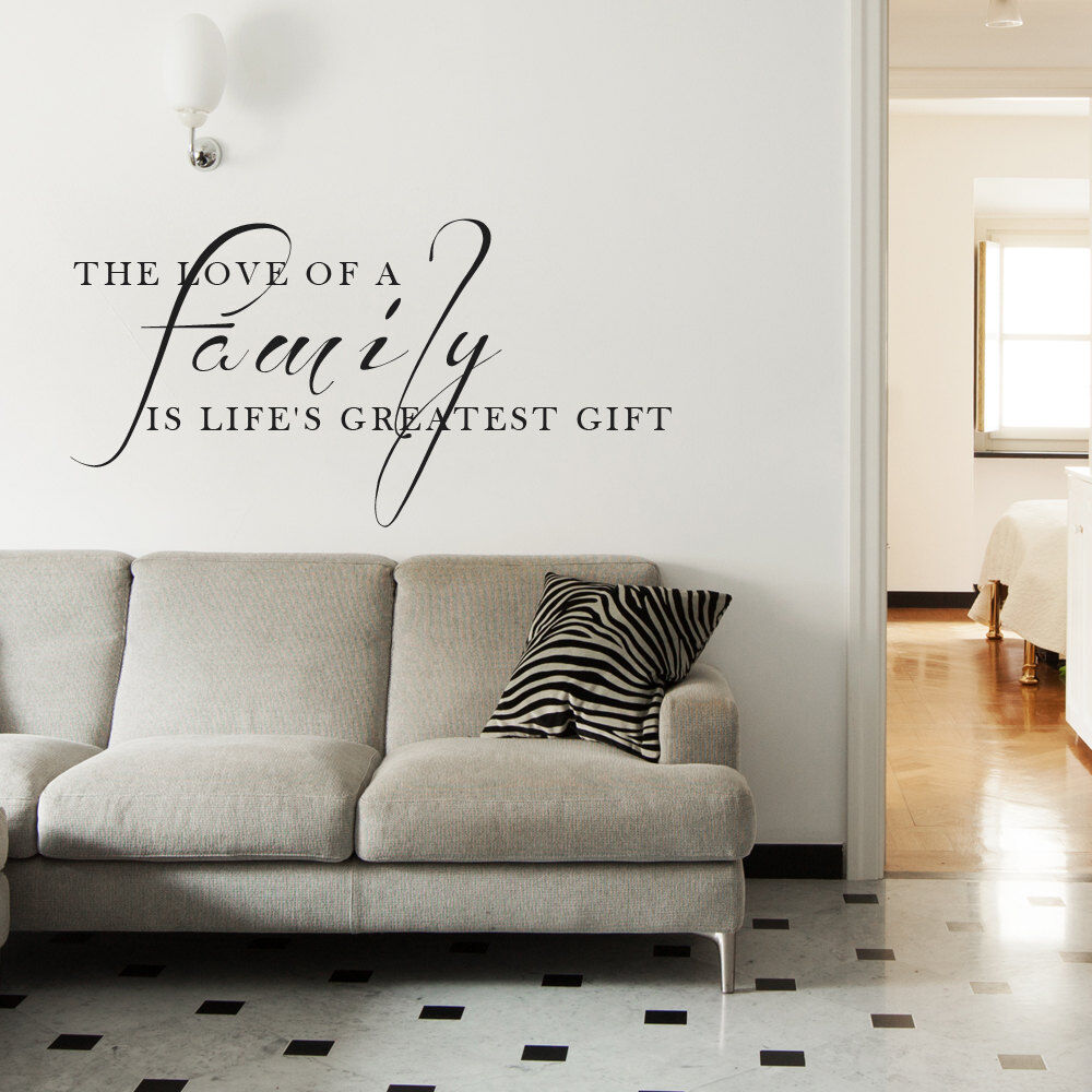 Love family gift living room wall art decal quote words for Living room decor quotes