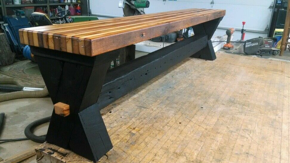 Reclaimed barn wood bench salvaged butcher block