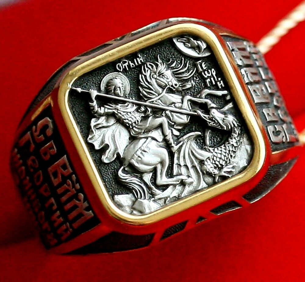 mens st george russian orthodox icon ring silver 925