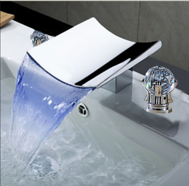 Led luxury waterfall bathroom widespread faucet crystal - Gold bathroom faucets with crystal handles ...