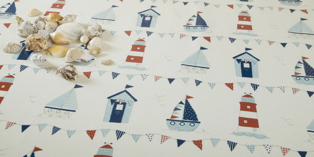 Blue Boats Beach Huts And Light Houses Oilcloth Wipeclean