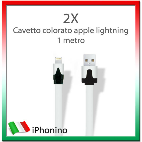 2X Cavo (Cavetto) Dati LIGHTNING PIATTO APPLE NOODLE per Iphone 5/5S/6 iPad Ipod