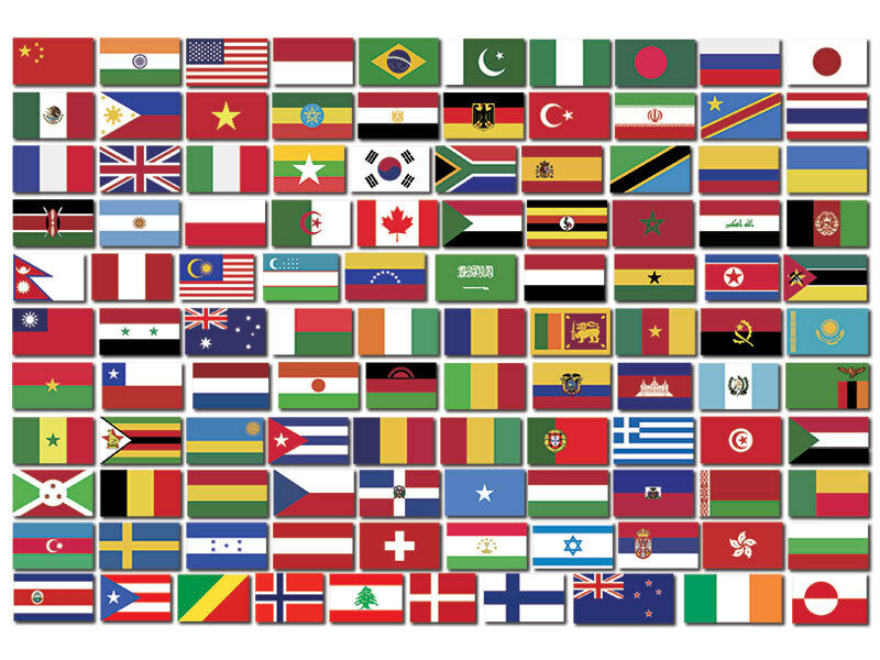 sheet of 100 world flags by population stickers scrapbooking small 5 inch tall ebay. Black Bedroom Furniture Sets. Home Design Ideas