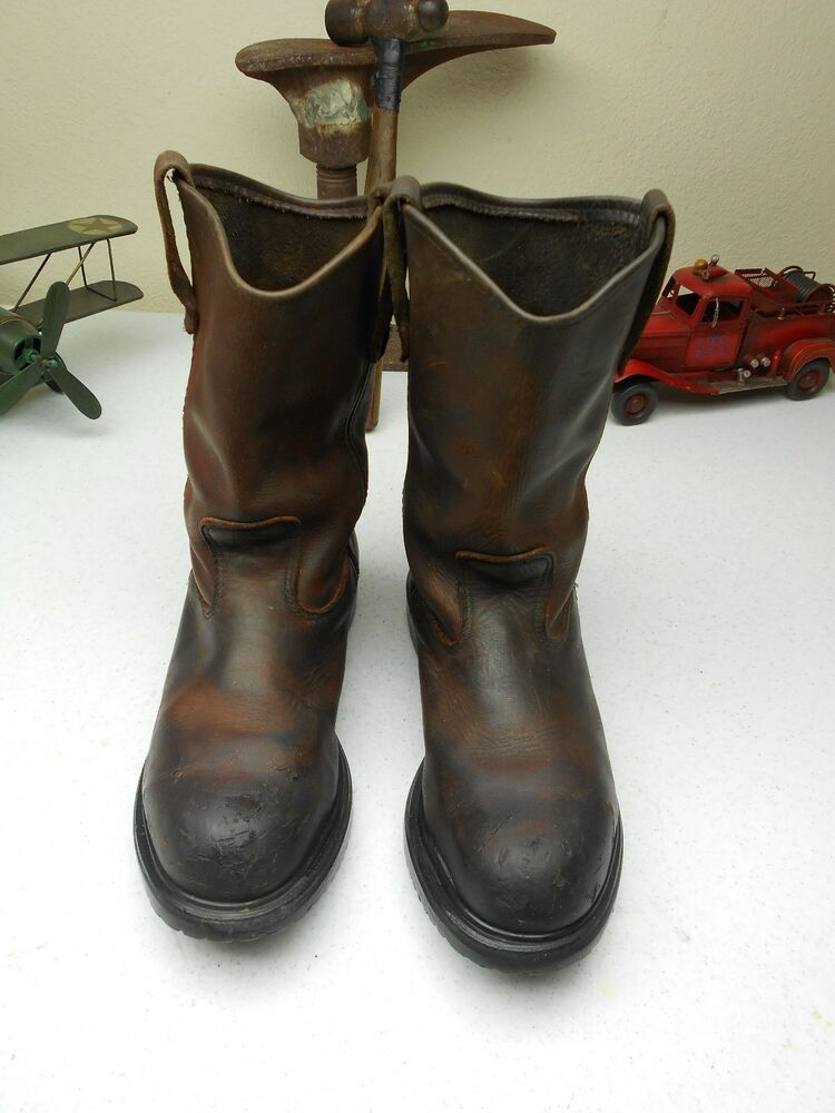 BROWN DISTRESSED STEEL TOE 2231 RED WING PECOS LEATHER WORK CHORE ...