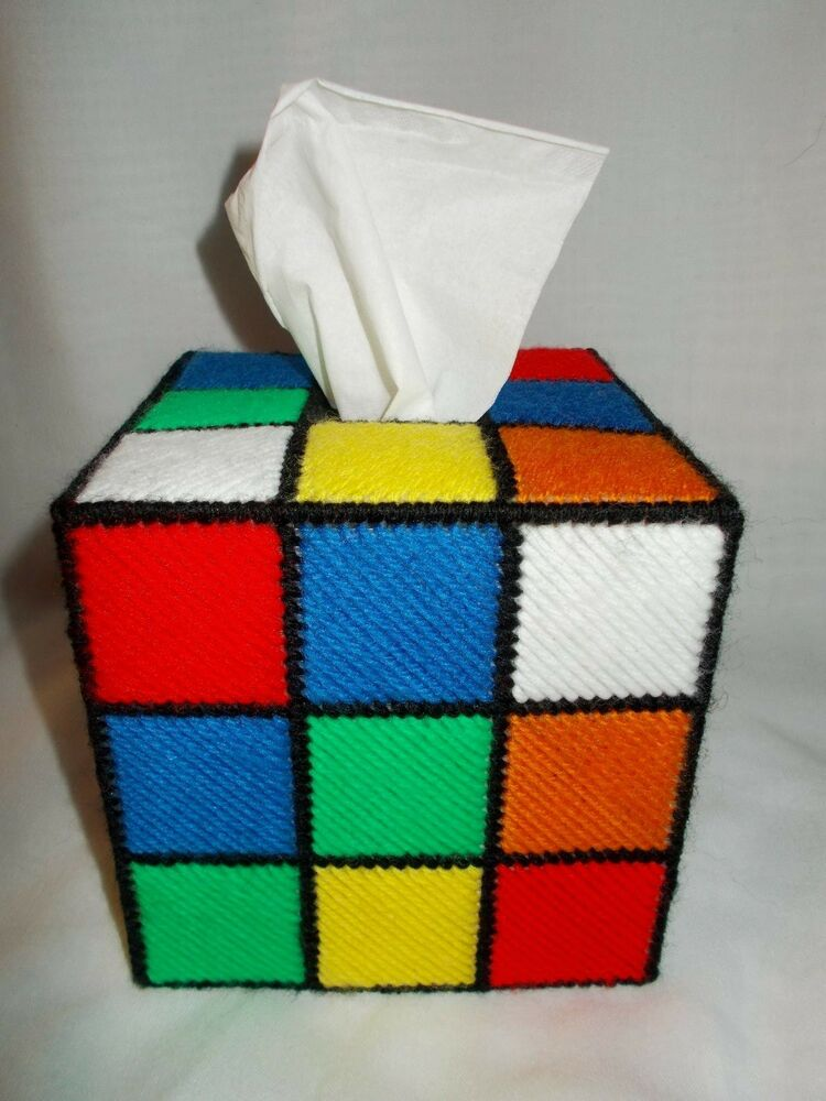 rubik 39 s cube plastic canvas tissue box as seen on tbbt. Black Bedroom Furniture Sets. Home Design Ideas