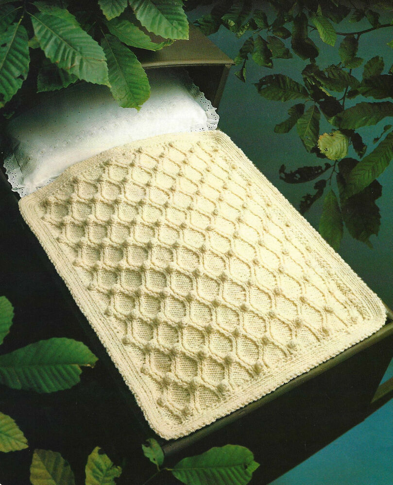Knitted Sock Pattern Free : Gorgeous Baby Pram Blanket Knitting Pattern Aran Cot 315 eBay