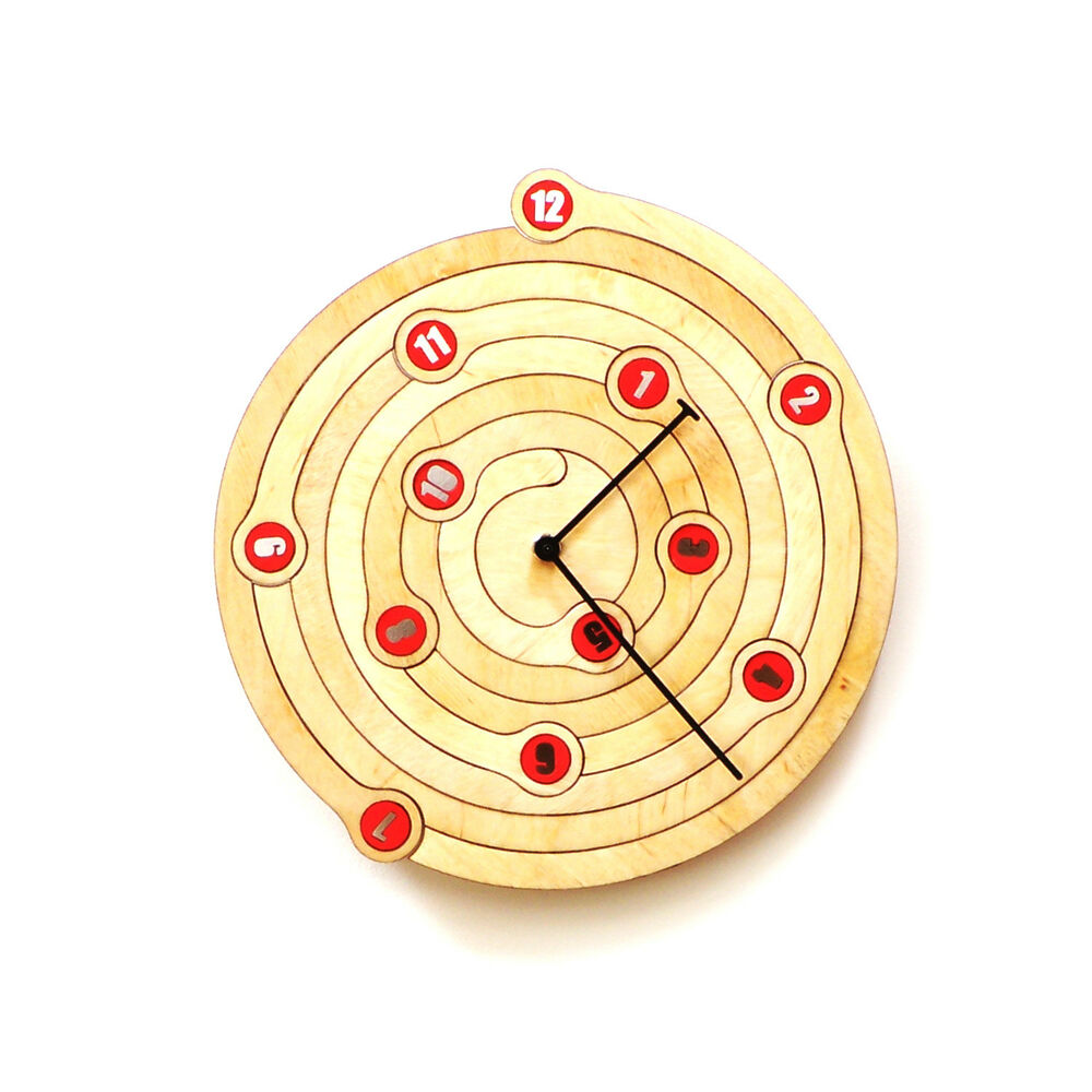 Spiral Unique Contemporary Wall Clock Raw Birch Plywood