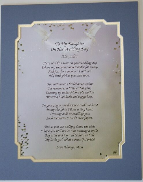 Wedding Day Gift For My Daughter : TO MY DAUGHTER ON HER WEDDING DAY POEM PERSONALIZE GIFT **L@@K ...