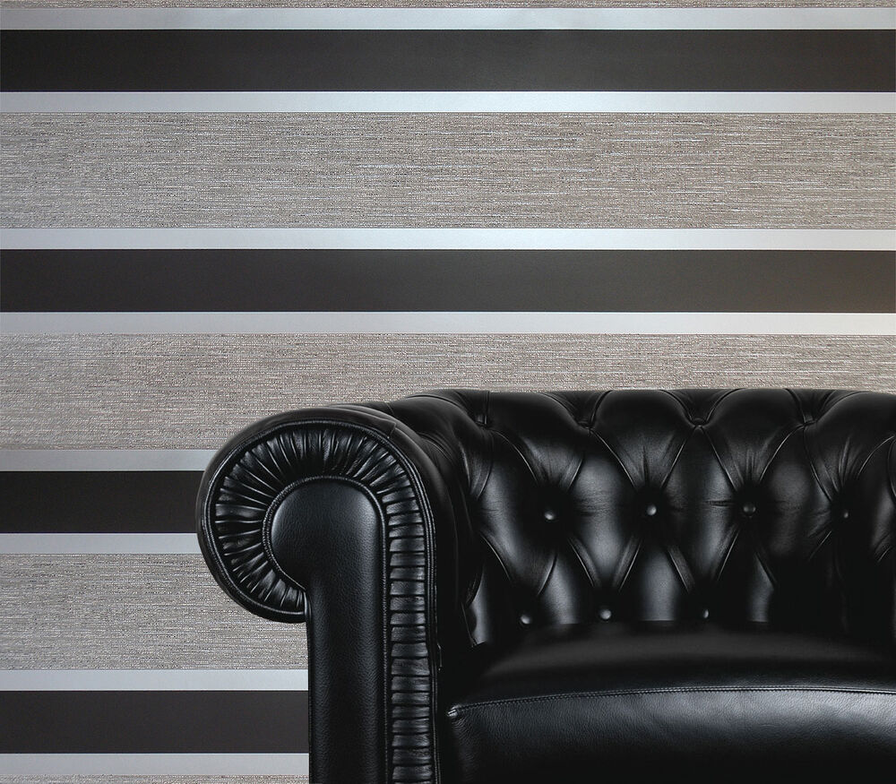 Black silver grey white striped blown vinyl designer for Black and silver living room wallpaper