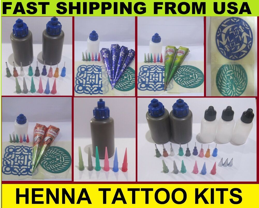 Henna Tattoo Kits Afterpay: Henna Kits- Applicator Bottle Natural Henna Paste Stencil