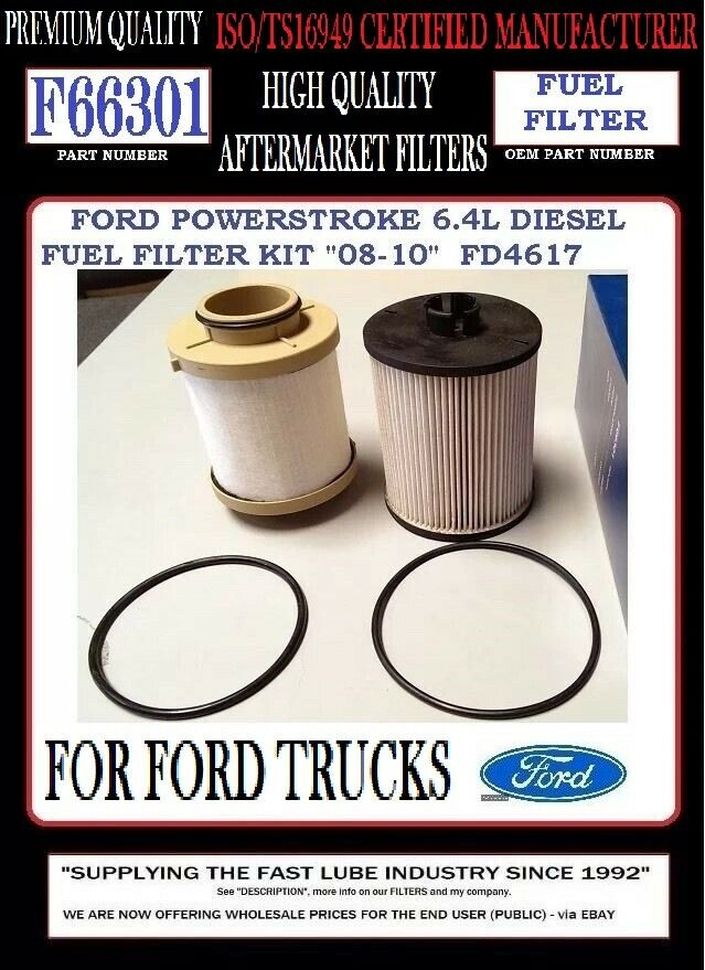 F66301 FORD POWERSTROKE 6 4L V8 DIESEL FUEL FILTER quot 2008