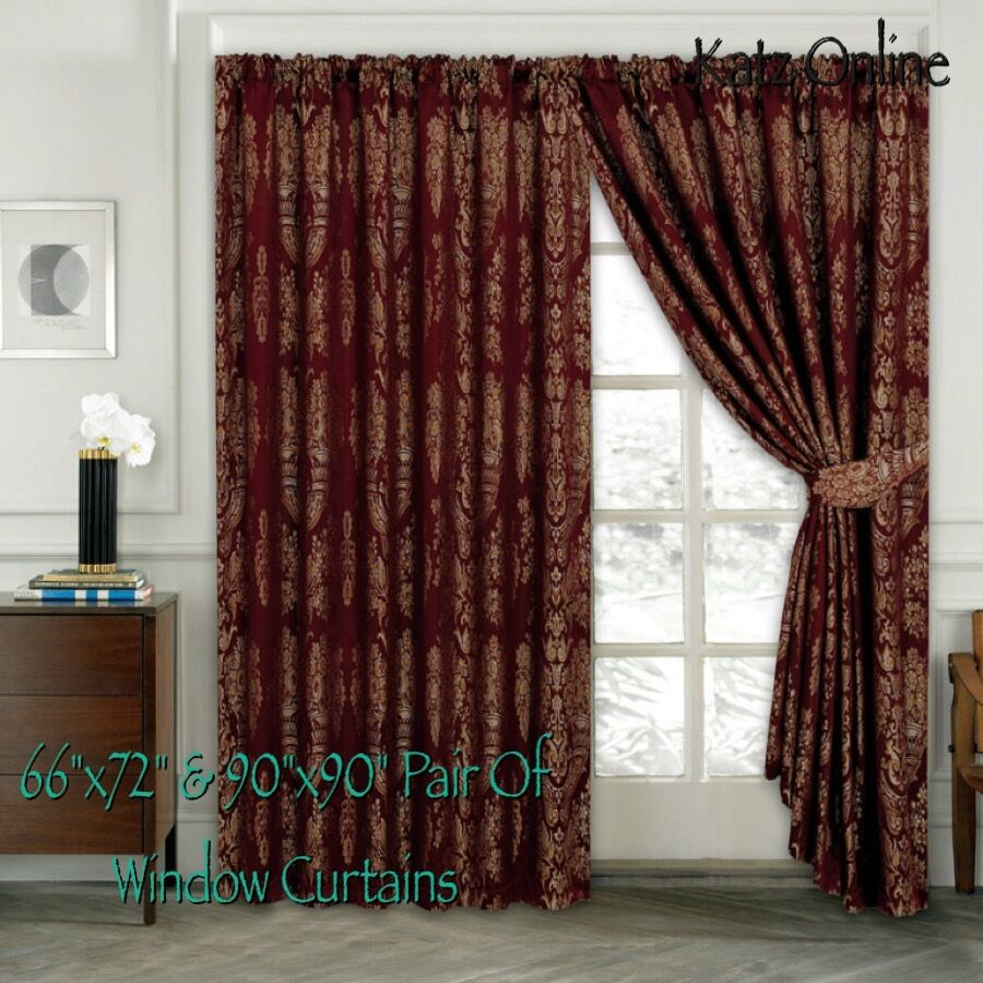 Heavy Jacquard Curtain Pair Of Pencil Pleat Window