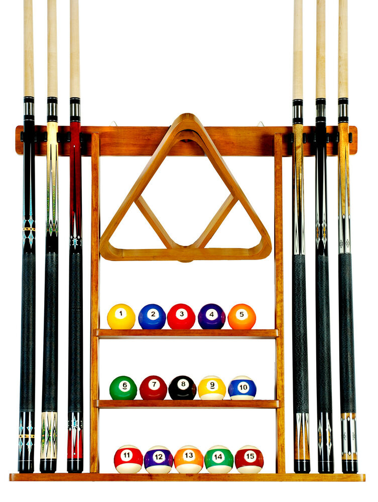 Cue Rack Only 6 Pool Billiard Stick Ball Set Wall