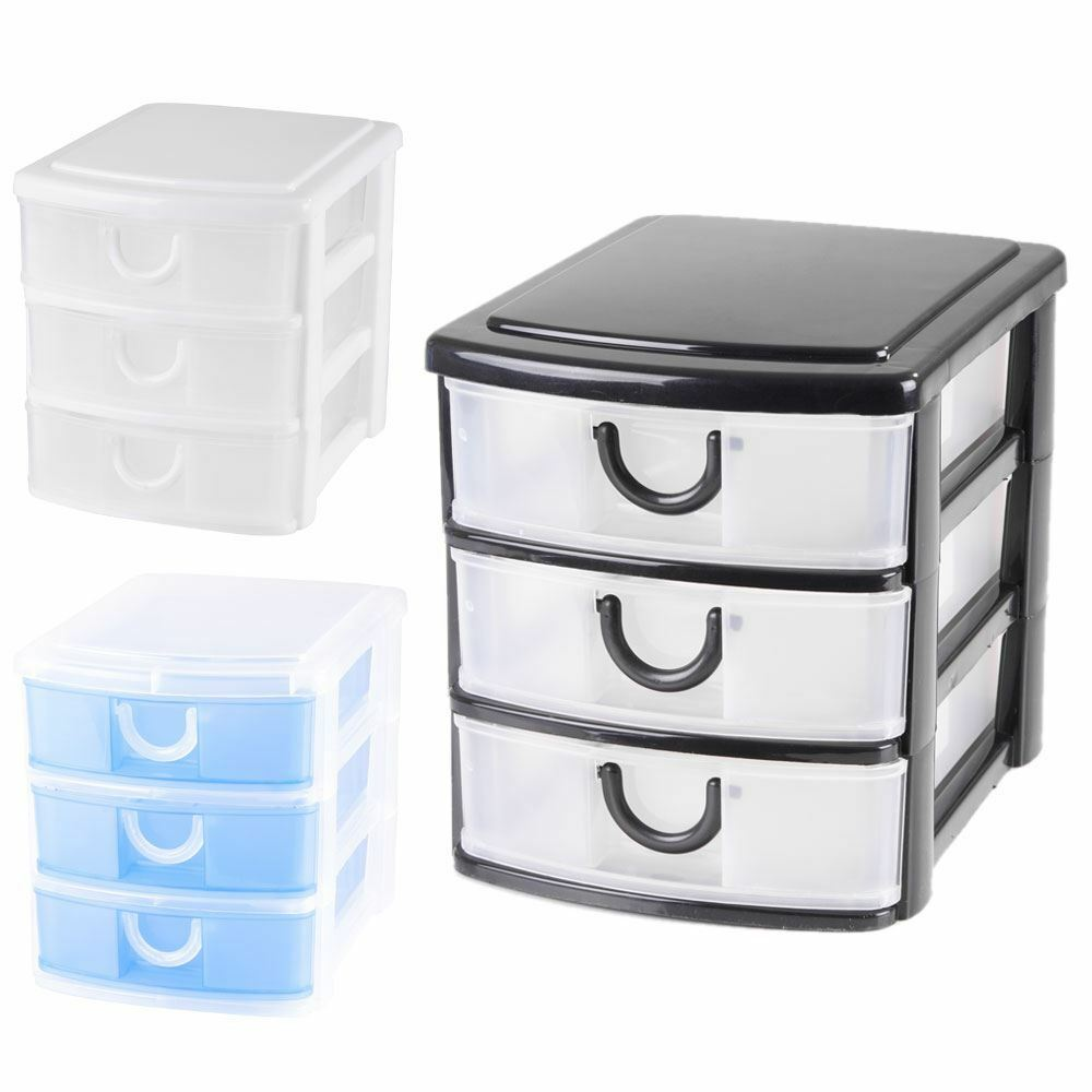 3 Tier Plastic Drawer Storage Unit Organiser Box Ebay