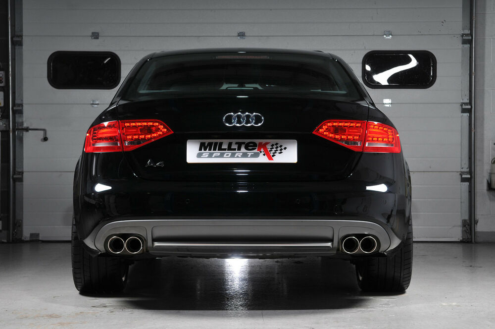 milltek cat back quad exhaust system audi a4 2 0 tdi 140 177 2wd b8 ebay. Black Bedroom Furniture Sets. Home Design Ideas