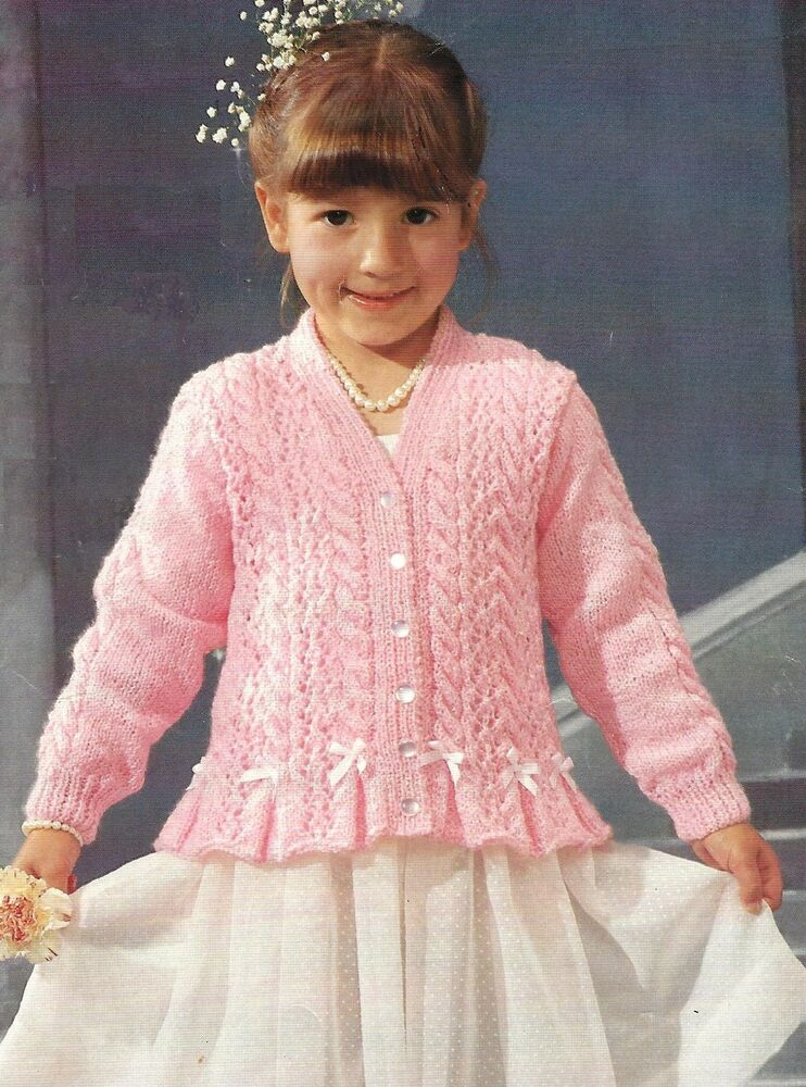Knitting Pattern Cardigan Girl : Girls Knitting Pattern Lace and Cable Cardigan 20-30