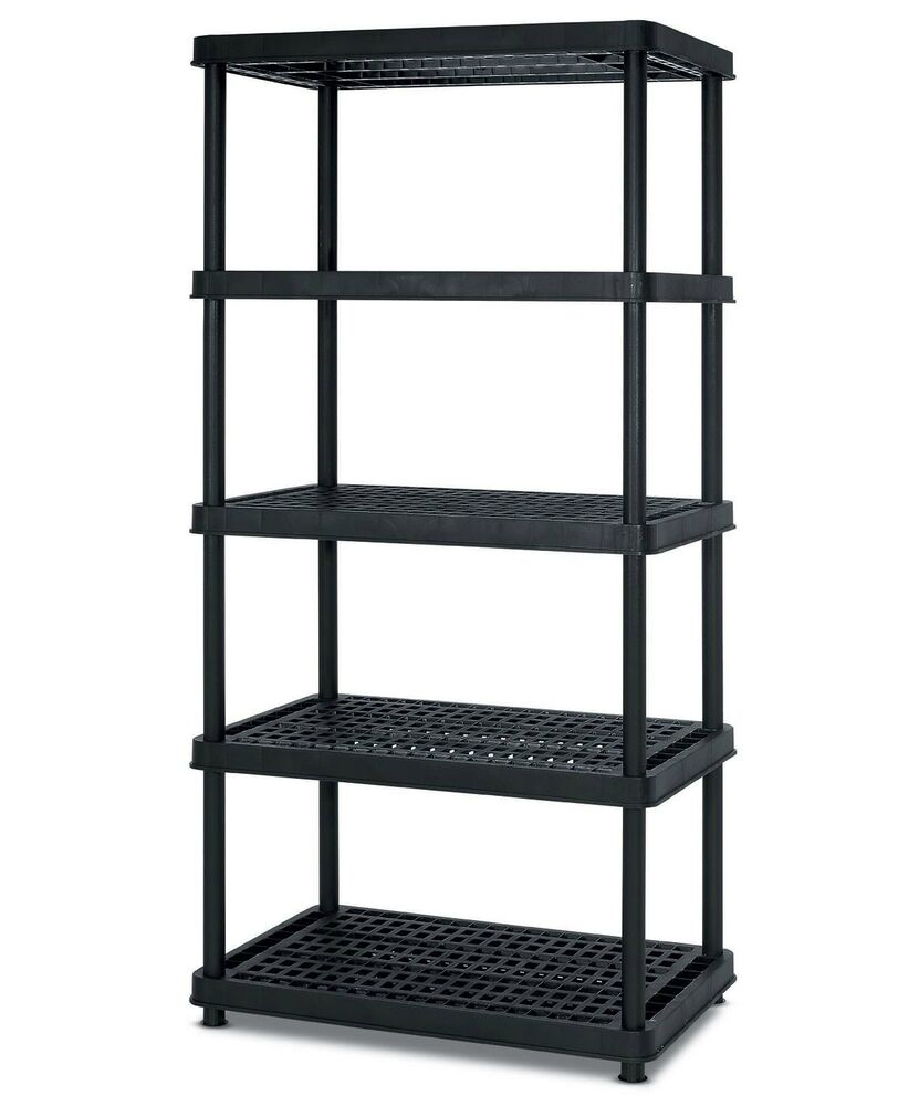 heavy duty 5 tier shelves plastic shelf garage storage shelving 36 x 24 x 72 ebay. Black Bedroom Furniture Sets. Home Design Ideas