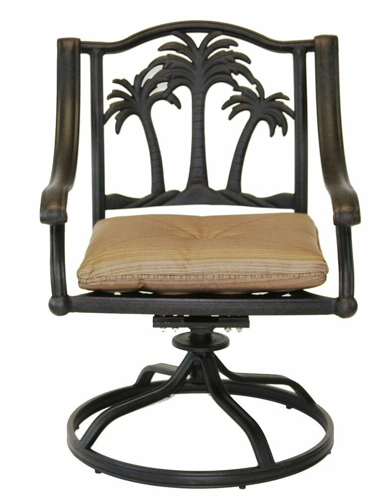 6 Chair Patio Set Cover: Palm Tree Outdoor Patio Dining Chairs Dark Bronze Color