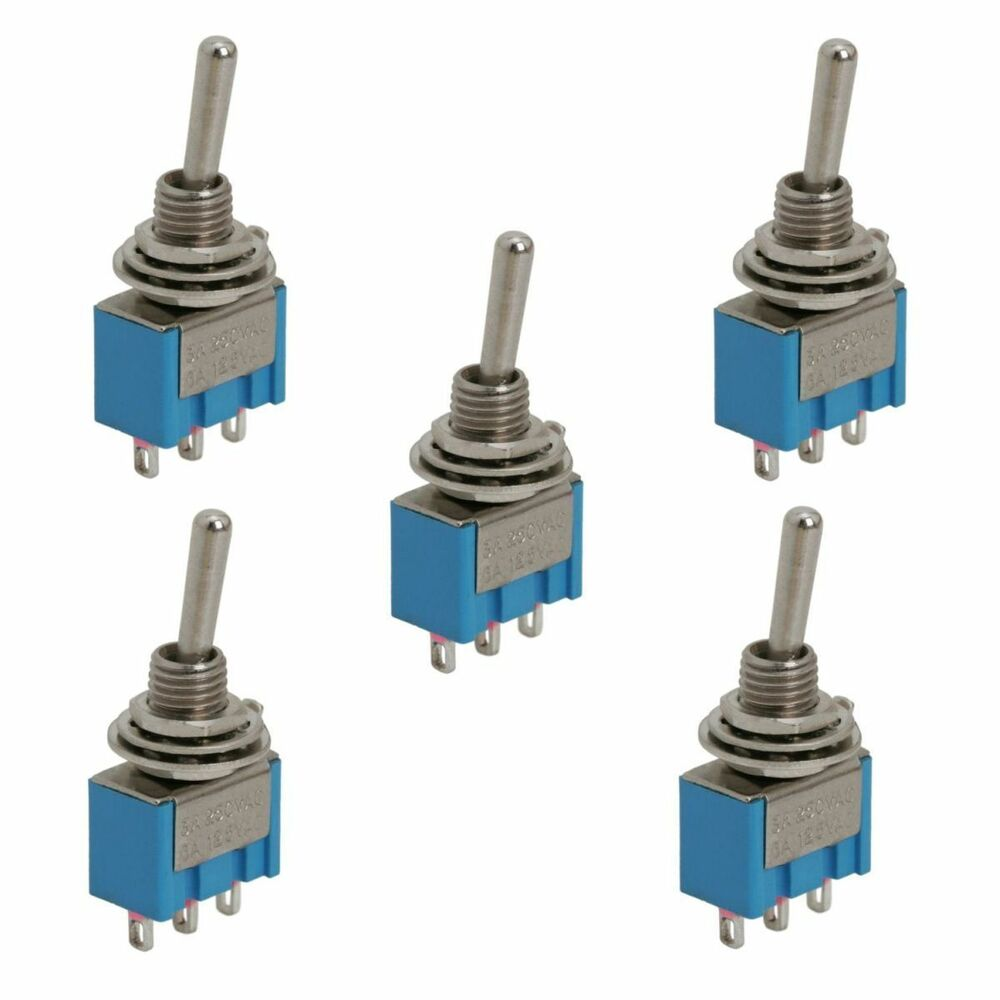 09018 5x Spdt Miniature Toggle Switch 3 Position 3 Pin On