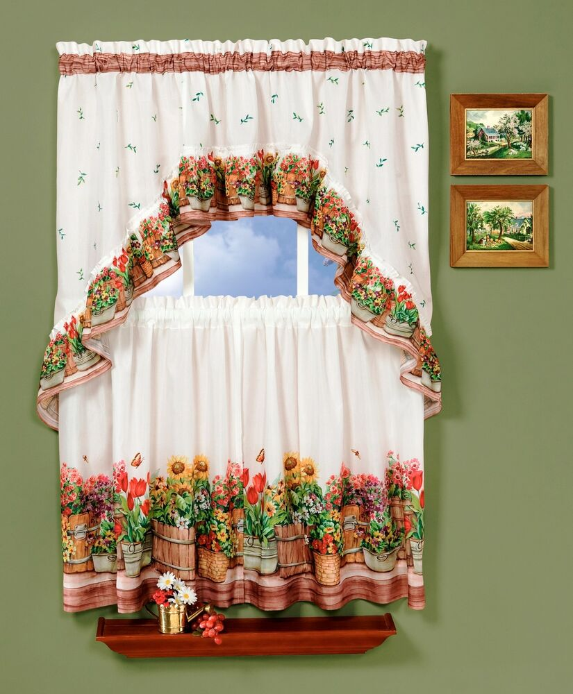COUNTRY GARDEN-COMPLETE TIER & SWAG SET, KITCHEN CURTAIN-DELICIOUS ...