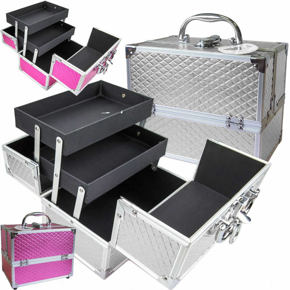 metallic silver pink faux leather alumi make up cosmetic vanity case beauty box ebay. Black Bedroom Furniture Sets. Home Design Ideas