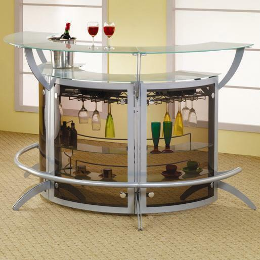 Furniture Stores That Sell Bars: Contemporary Silver Metal & Glass Entertainment Bar Unit