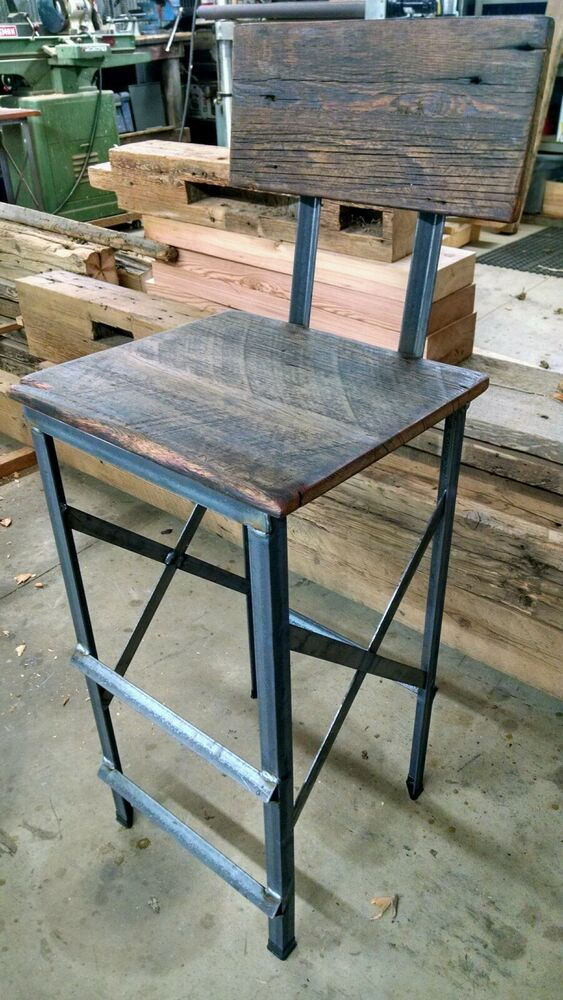 Rustic Reclaimed Barn Wood And Steel Bar Stool Resturaunt