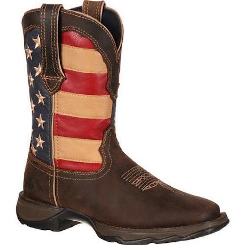 New The DRD0107 10&quot Lady Rebel Faded Glory Flag Boot By Durango Features A Square Toe, Rocker Heel, Full Grain Leather Vamp, Collar, Fox And Pull Straps With A Manmade Shaft This Boot Has A Soft Mesh Lining, Removable Cushion Footbed